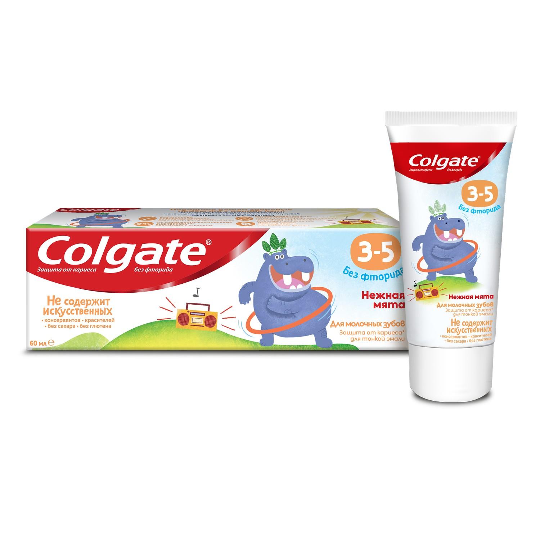 Детская зубная паста Colgate без фторида Нежная мята, 3-5 лет, 60 мл зубная паста colgate нежная мята 3 5 лет 60 мл