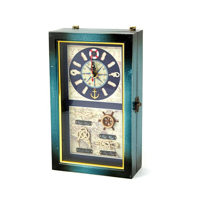 Коллаж-ключница Русские подарки с часами Морские узлы 15x7x25 см