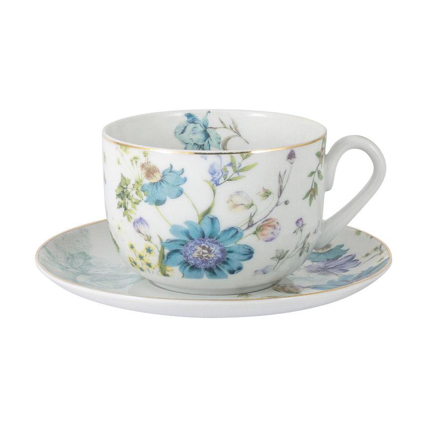 Чашка с блюдцем Anna Lafarg Primavera Лазурь 0,25 л чашка большая флора 400 мл синяя с блюдцем al 1557db dj p4 anna lafarg