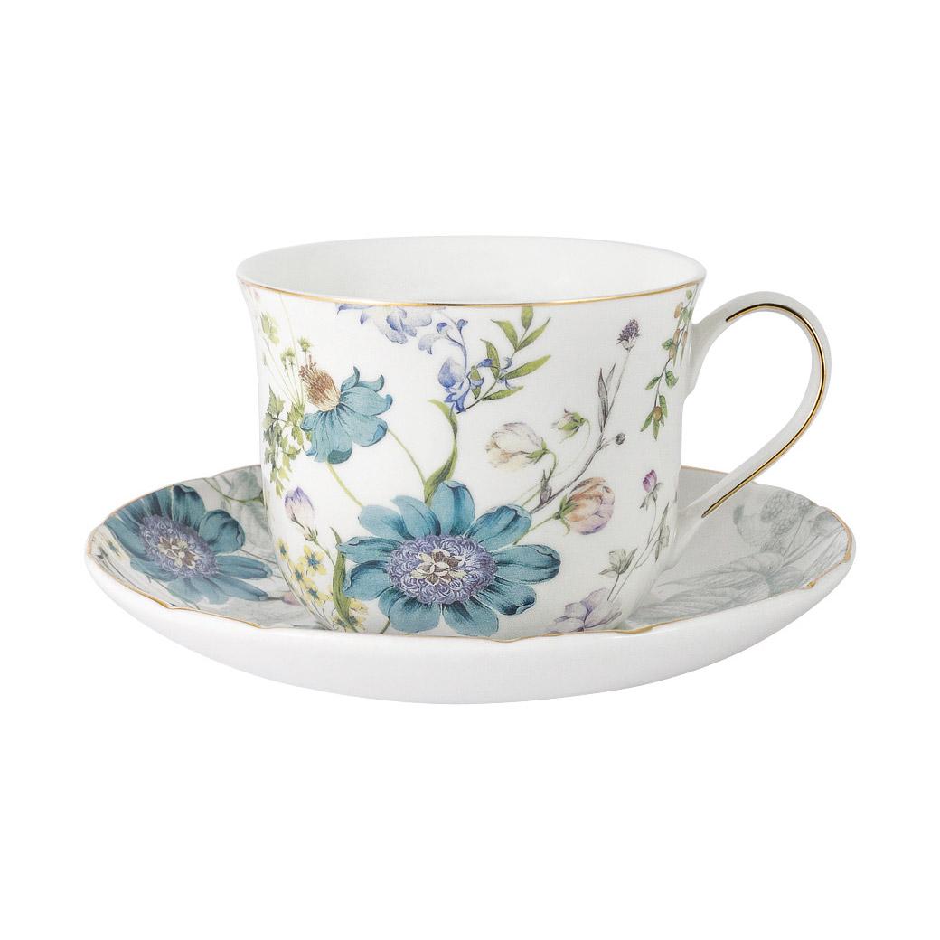 Чашка с блюдцем Anna Lafarg Primavera Лазурь 0,4 л чашка большая флора 400 мл синяя с блюдцем al 1557db dj p4 anna lafarg