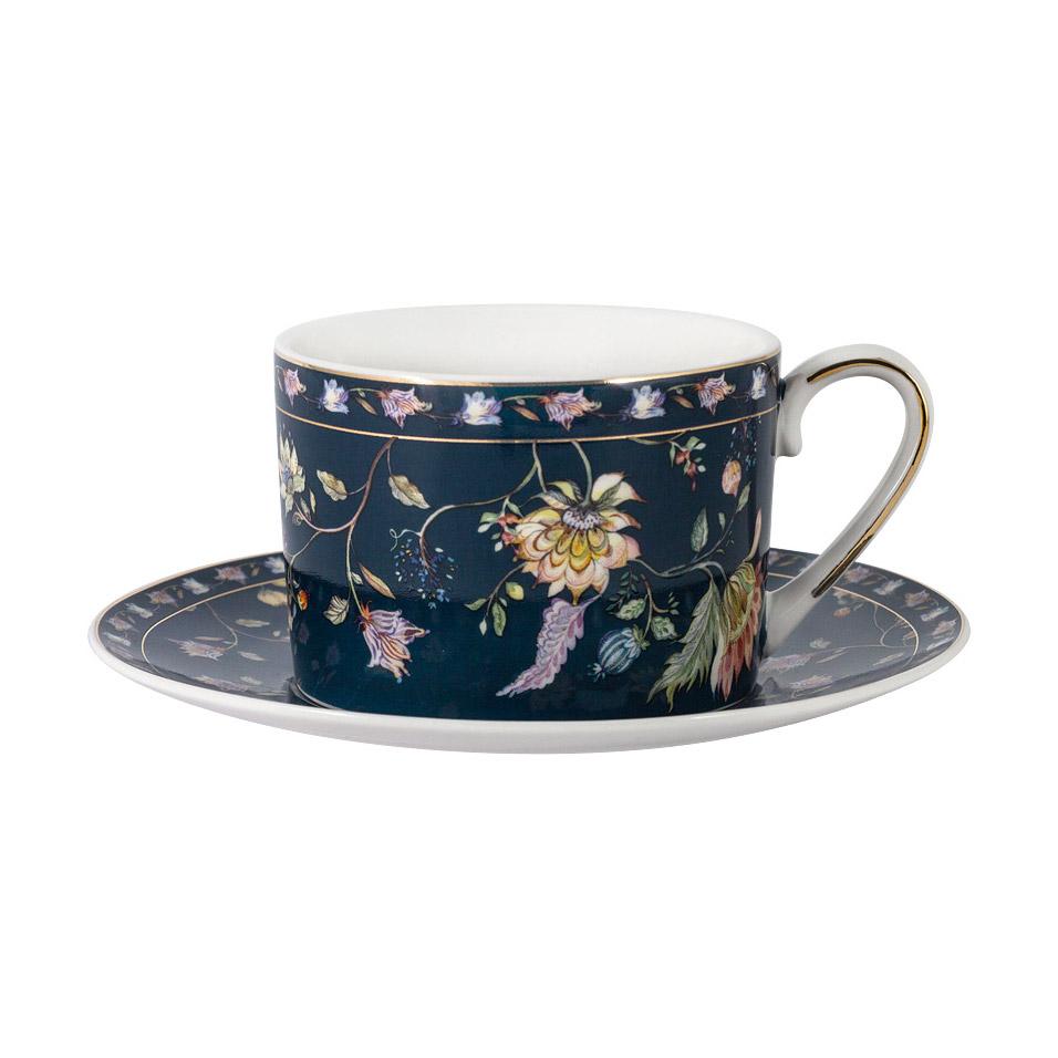 Чашка с блюдцем Anna Lafarg Primavera Флора 0,25 л чашка большая флора 400 мл синяя с блюдцем al 1557db dj p4 anna lafarg