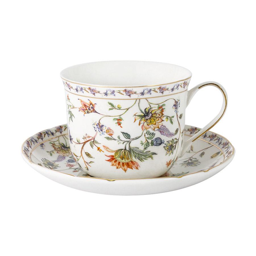 Чашка с блюдцем Anna Lafarg Primavera Флора 0,4 л чашка большая флора 400 мл синяя с блюдцем al 1557db dj p4 anna lafarg