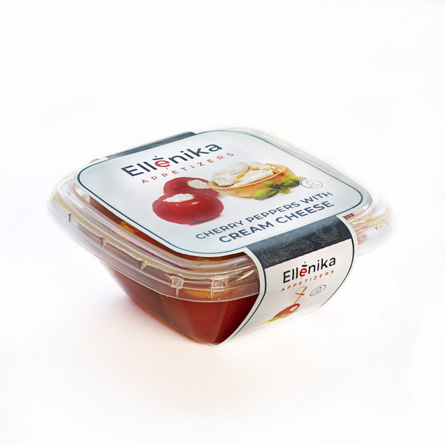 Перчики-черри Ellenika фаршированные сливочным сыром со специями 130 г перчики фаршированные тунцом de luxe gartenz стеклянная банка 280 г