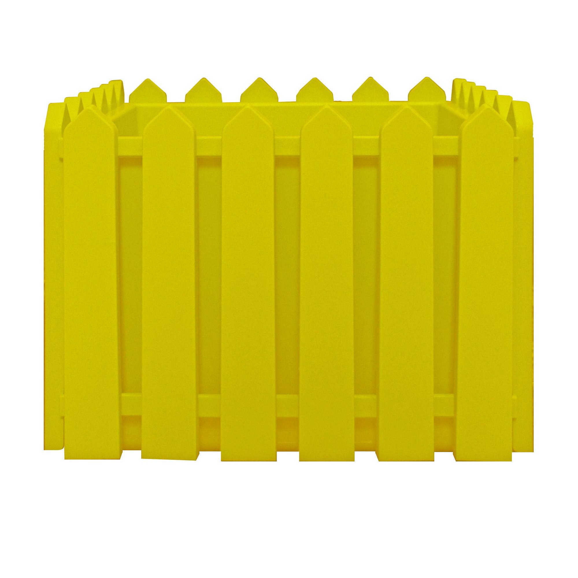 Кашпо Элластик-пласт Лардо квадратное желтое 28х28х22 см фото