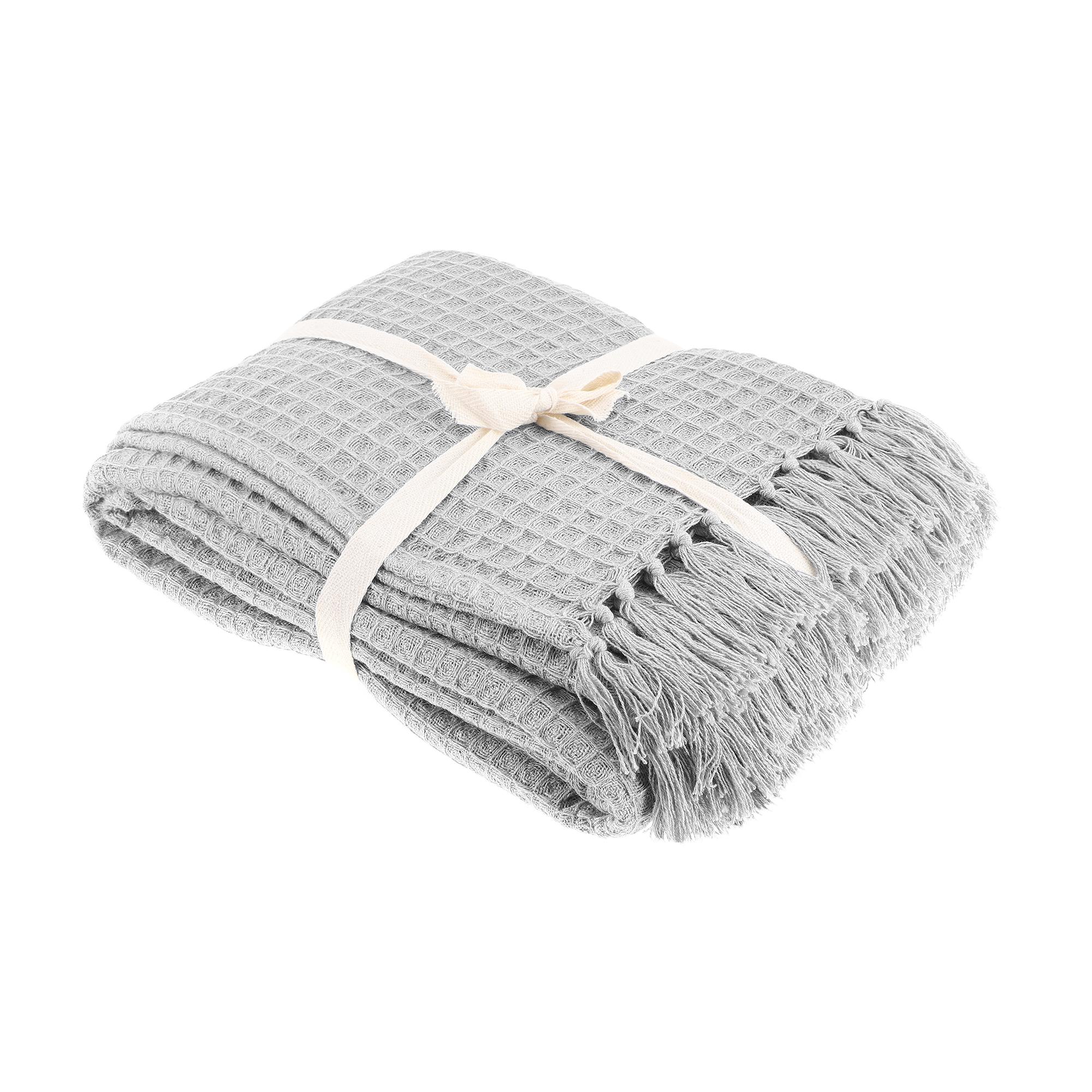 Плед вафельный Homelines textiles solid 220x240cm grey фото