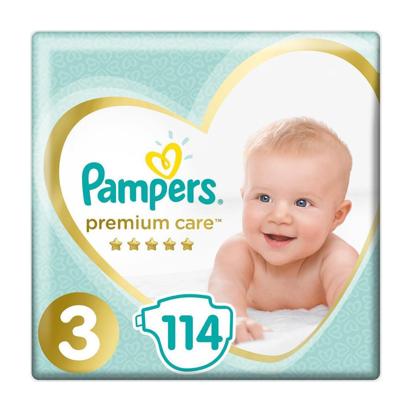 Купить Подгузники Pampers Premium Care 6-10 кг 114 шт, 3, Для детей,