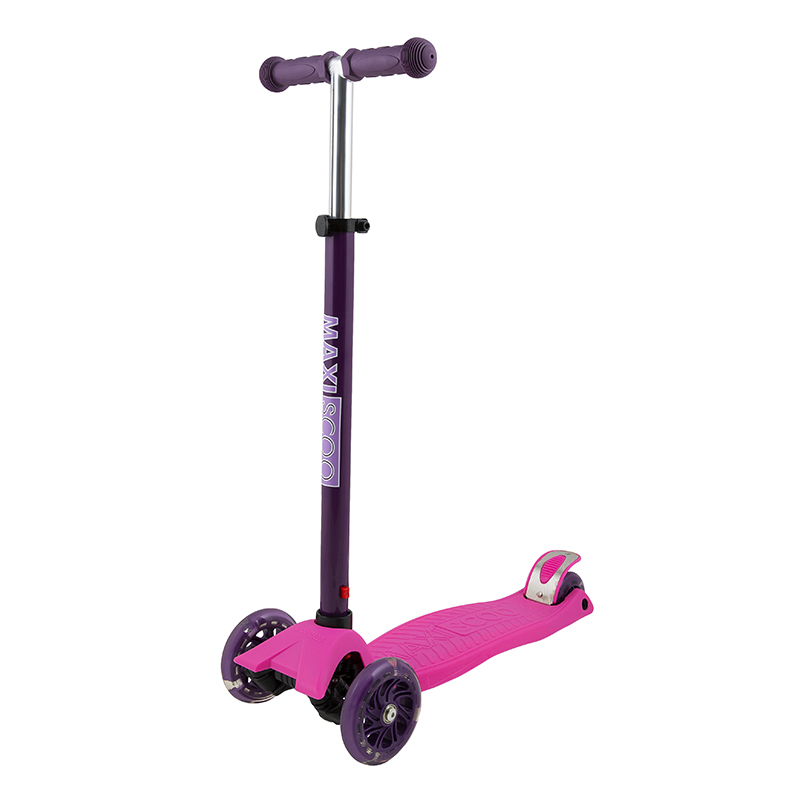Самокат Трехколесный Maxiscoo Junior со Светящимися Колесами, Розовый фото