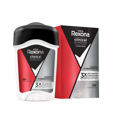 Антиперспирант-крем Rexona Men Clinical Protection Защита и Уверенность 45 мл фото
