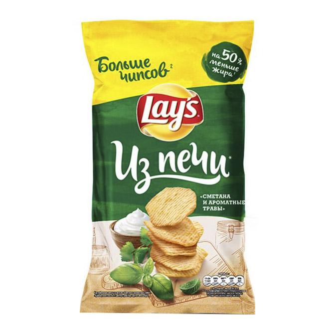 Чипсы картофельные Lays Из печи Сметана и ароматные травы 120 г недорого