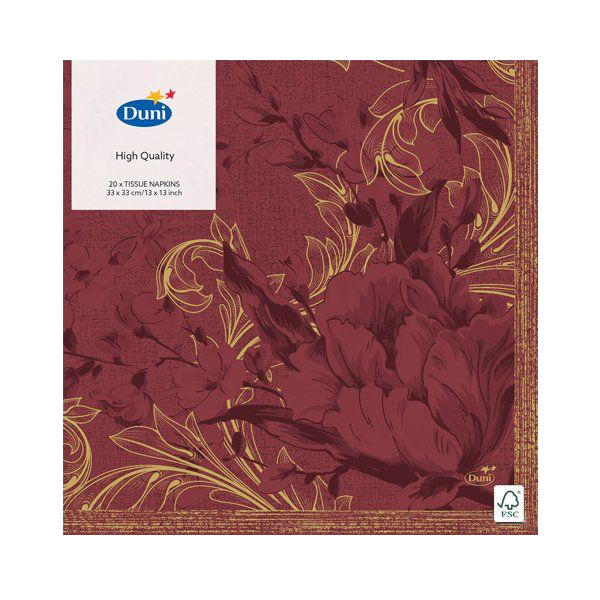 Салфетки Duni CHARM BORDEAU бумажные 3-х слойные 33х33 см