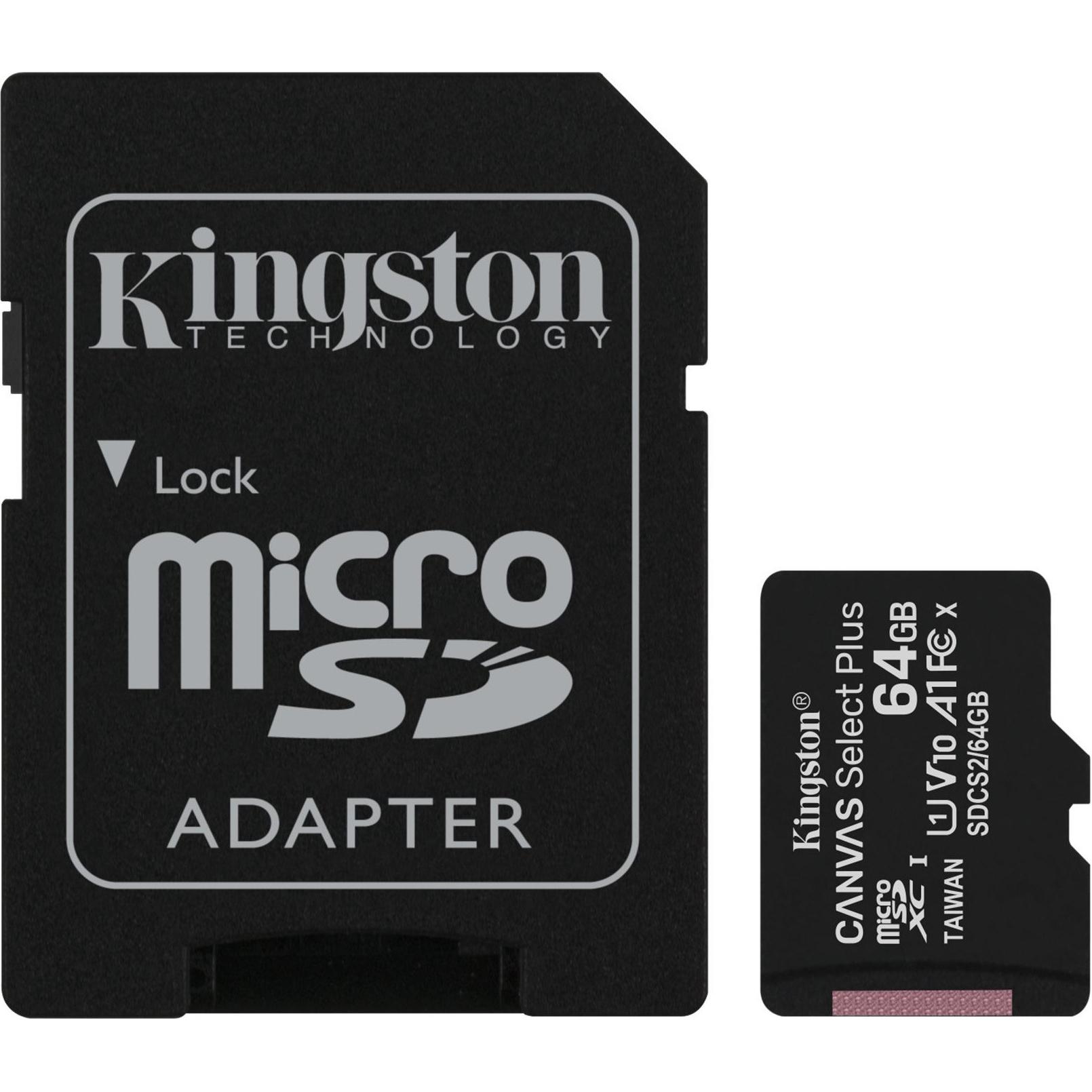 Фото - Карта памяти Kingston Canvas Select Plus microSD 64GB карта памяти kingston canvas select plus microsd 128gb class 10