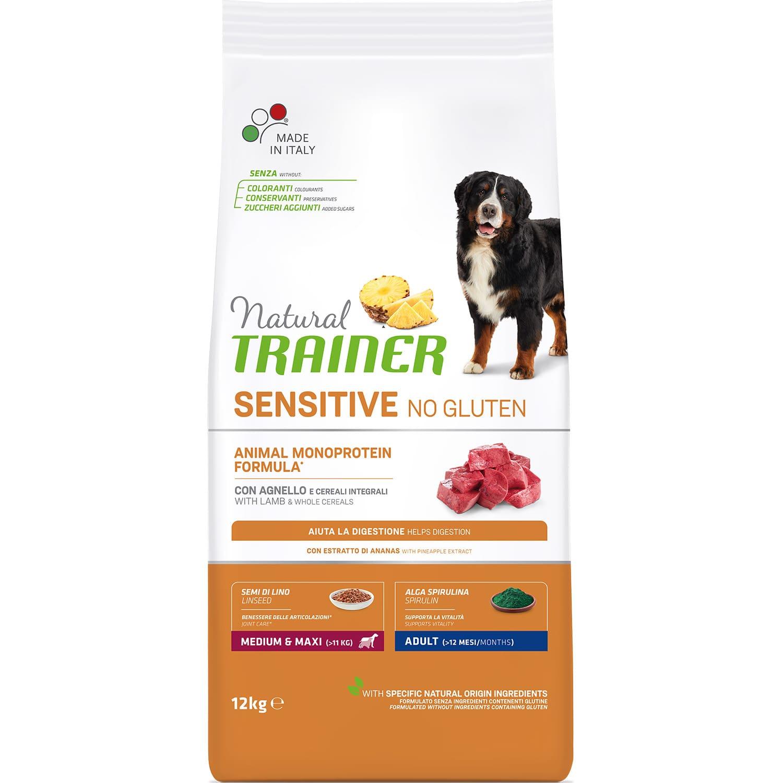 Корм для собак Natural Trainer Sensitive No Gluten Medium&Maxi Adult Dog ягненок 12 кг trainer сухой корм trainer natural medium adult для взрослых собак средних пород с курицей