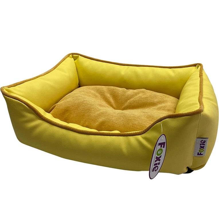 Лежак для животных Foxie Leather 60х50х18 см желтый.