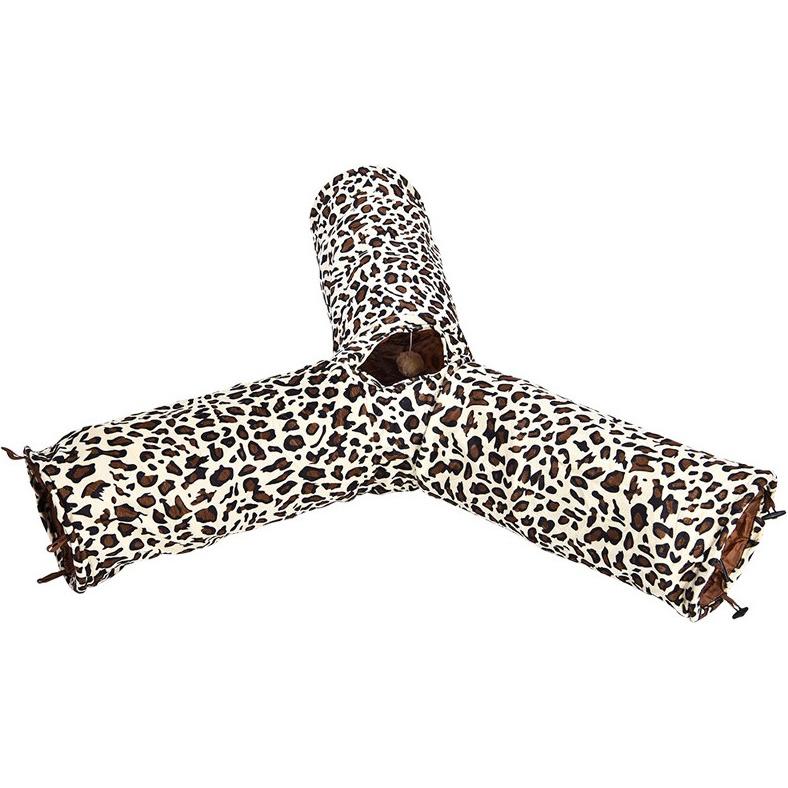 Тоннель для кошек Foxie Трехрукавный с леопардовым принтом 25x55 см.