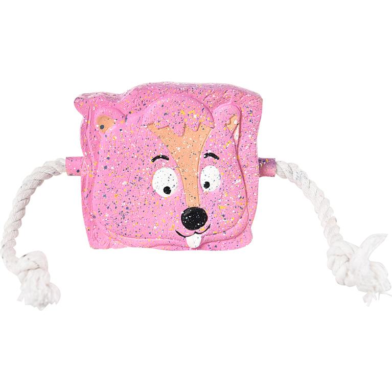 Игрушка для собак Foxie Тост с пищалкой и канатами 11 см Розовый