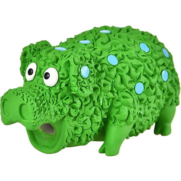 Игрушка для собак Foxie Поросенок с пищалкой латекс 17 см Зеленый.