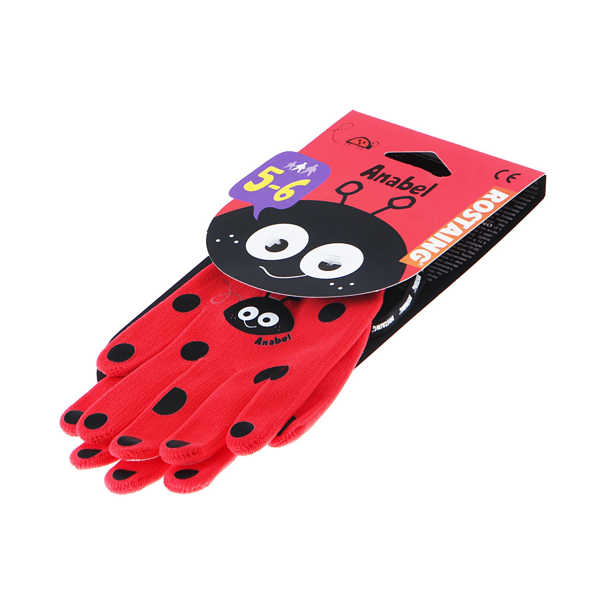 Перчатки садовые Rostaing детские LadyBird красные