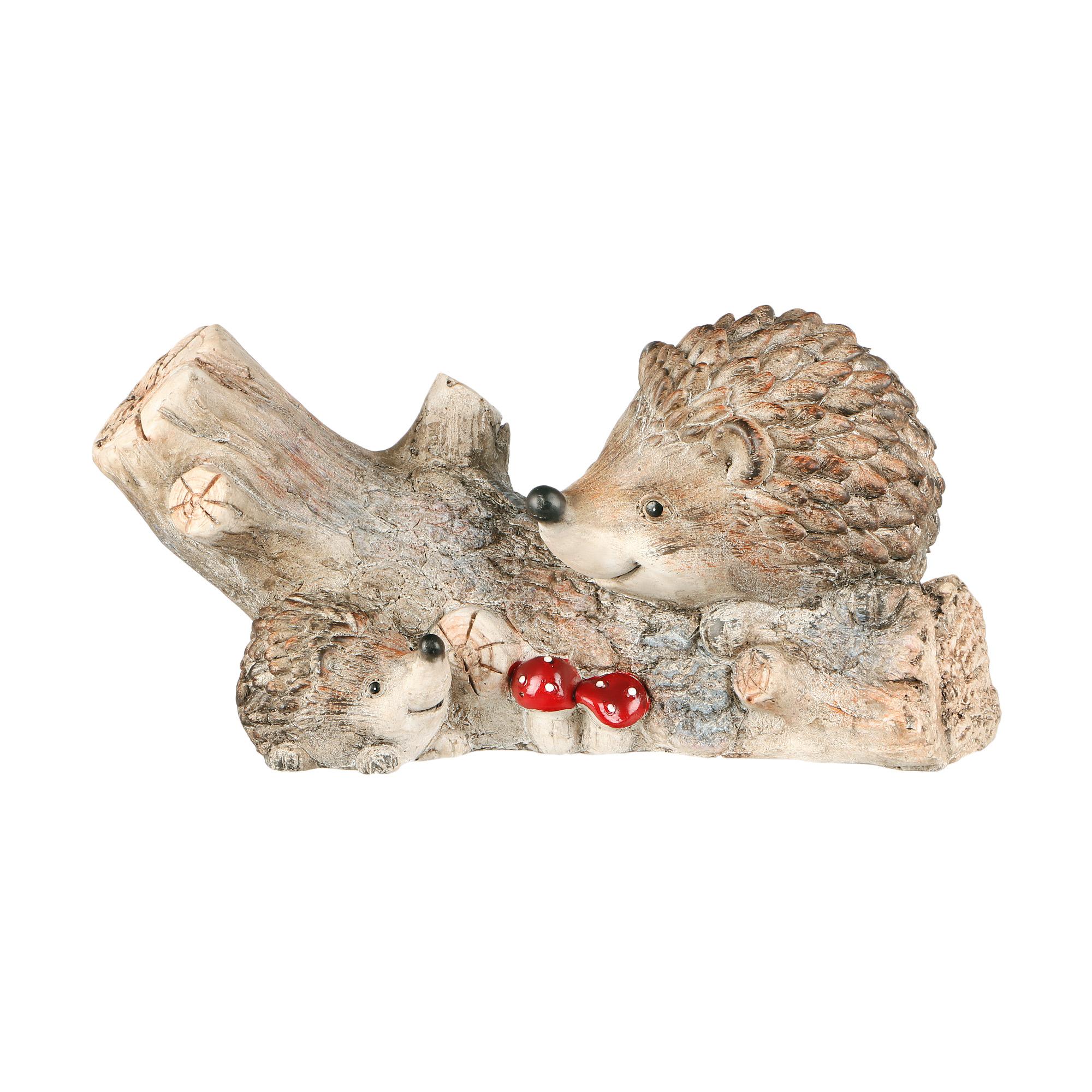 Фигура садовая Foryou craft ежи с бревном 41х17х20см фото