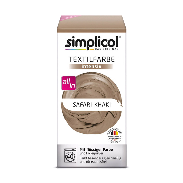 Краска для окрашивания одежды и тканей Simplicol Intensiv сафари хаки