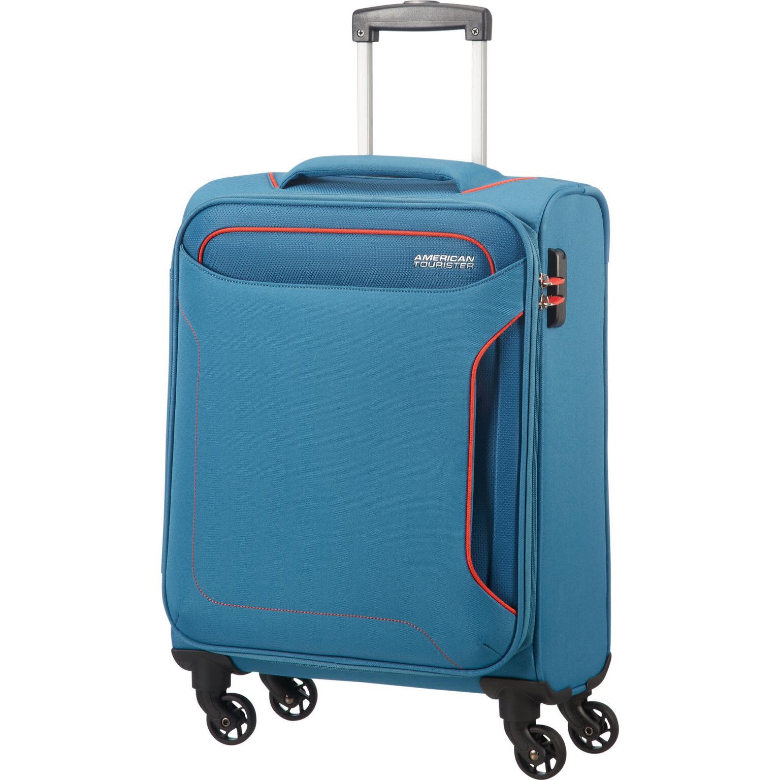 Чемодан American Tourister 4-х колесный голубой 40х20х55 см.