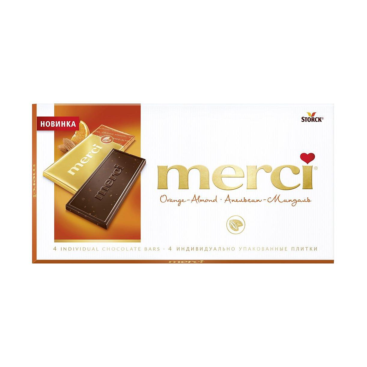 Фото - Шоколад горький Merci Апельсин, миндаль 100 г merci водолазки