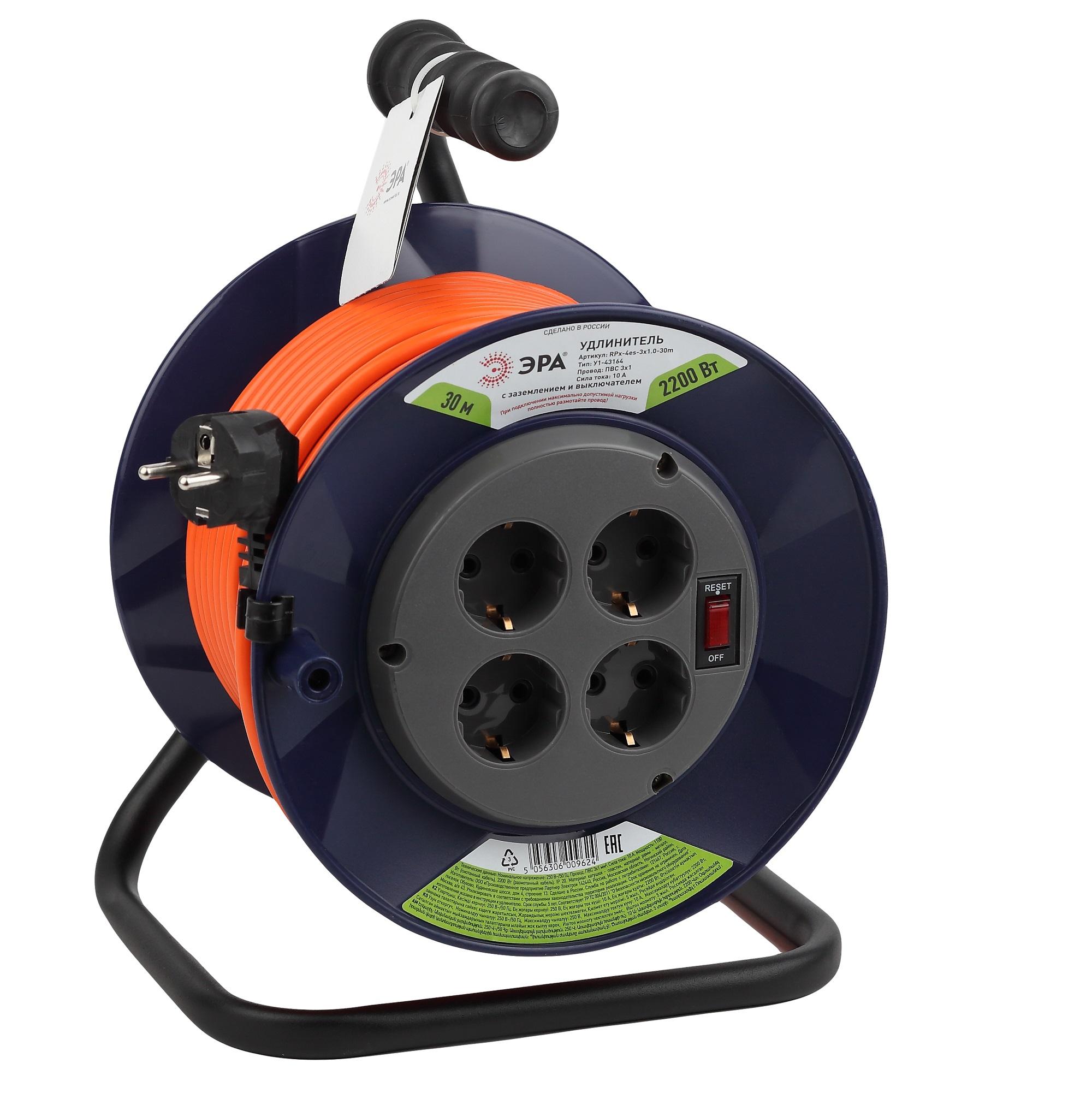 Удлинитель силовой ЭРА RPx-4es-3х1.0-30m на п. катушке c/з 4 гн 30м ПВС 3х1 удлинитель эра силовой rpx 4es 3x0 75 30m б0043052