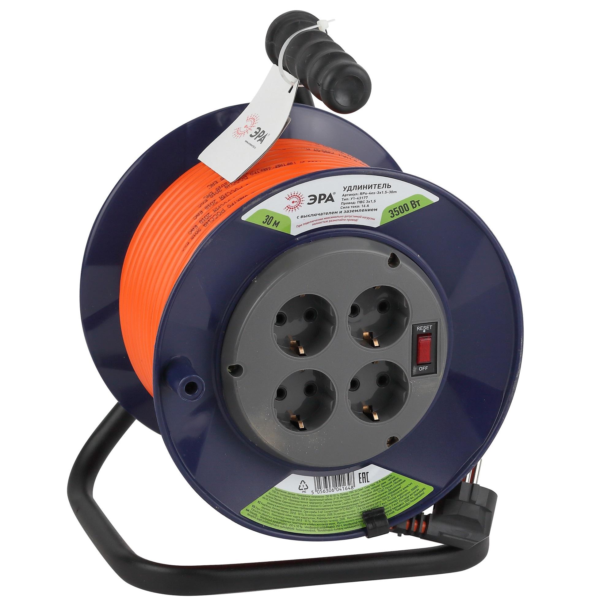 Удлинитель силовой ЭРА RPx-4es-3x1.5-30m на п. катушке c/з 4 гн 30м ПВС 3х1.5 удлинитель эра силовой rpx 4es 3x0 75 30m б0043052