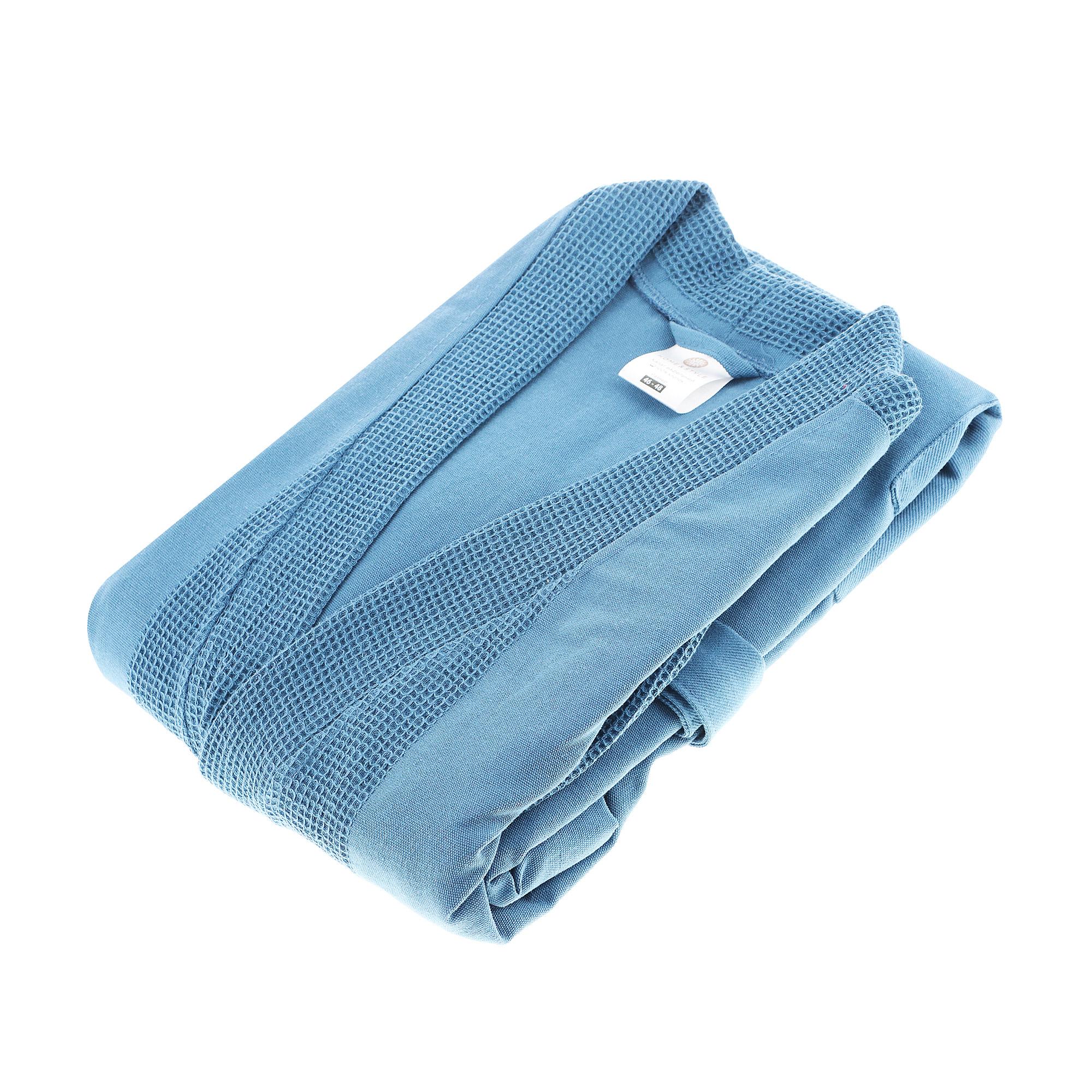 Халат Home style синий вафельный 52-54