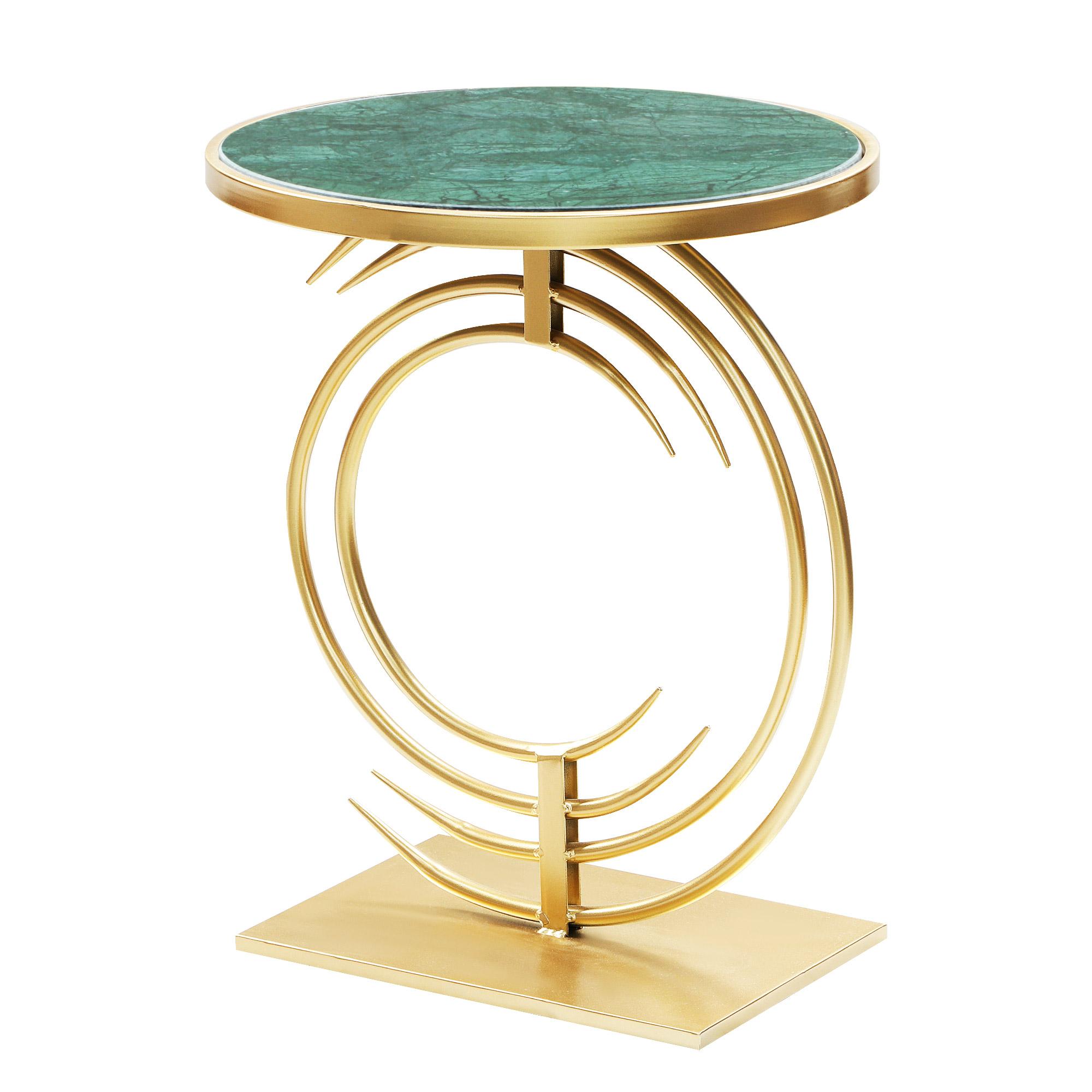 Столик кофейный Glasar с зеленым мрамором 40х40х51см