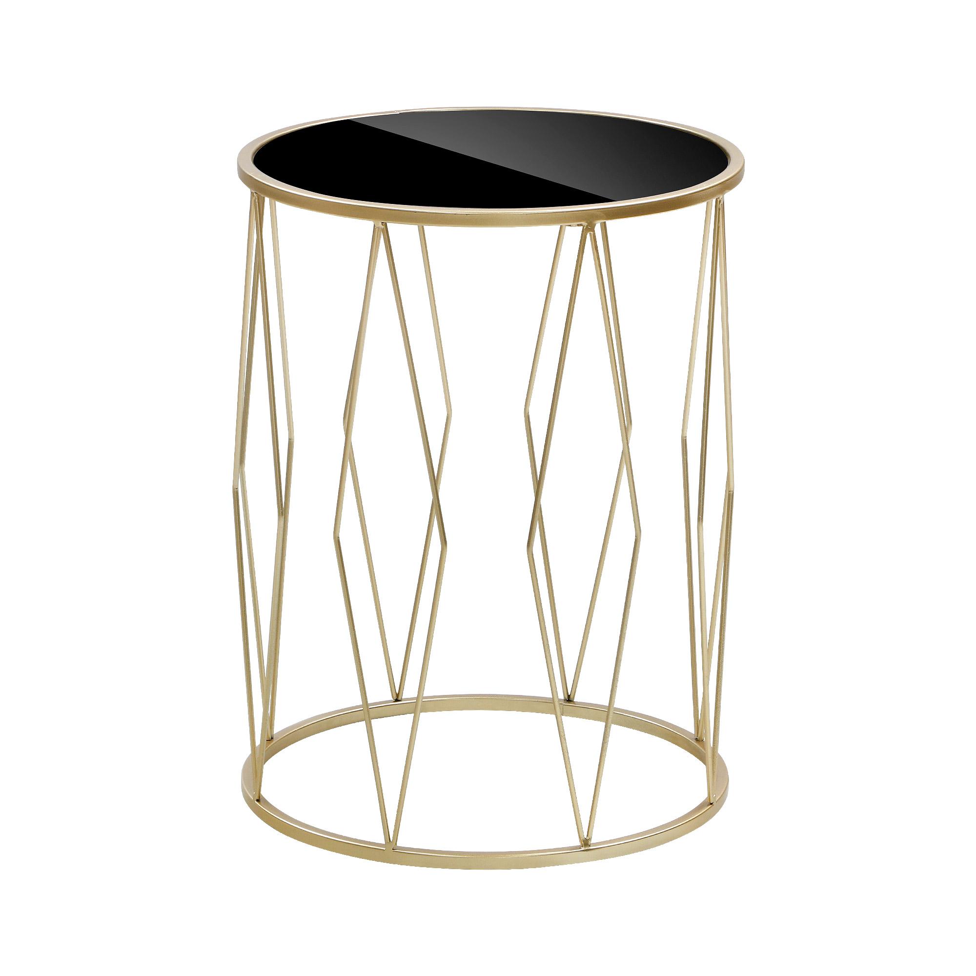 Столик интерьерный Glasar с черной стеклянной столешницей 33х33х43см
