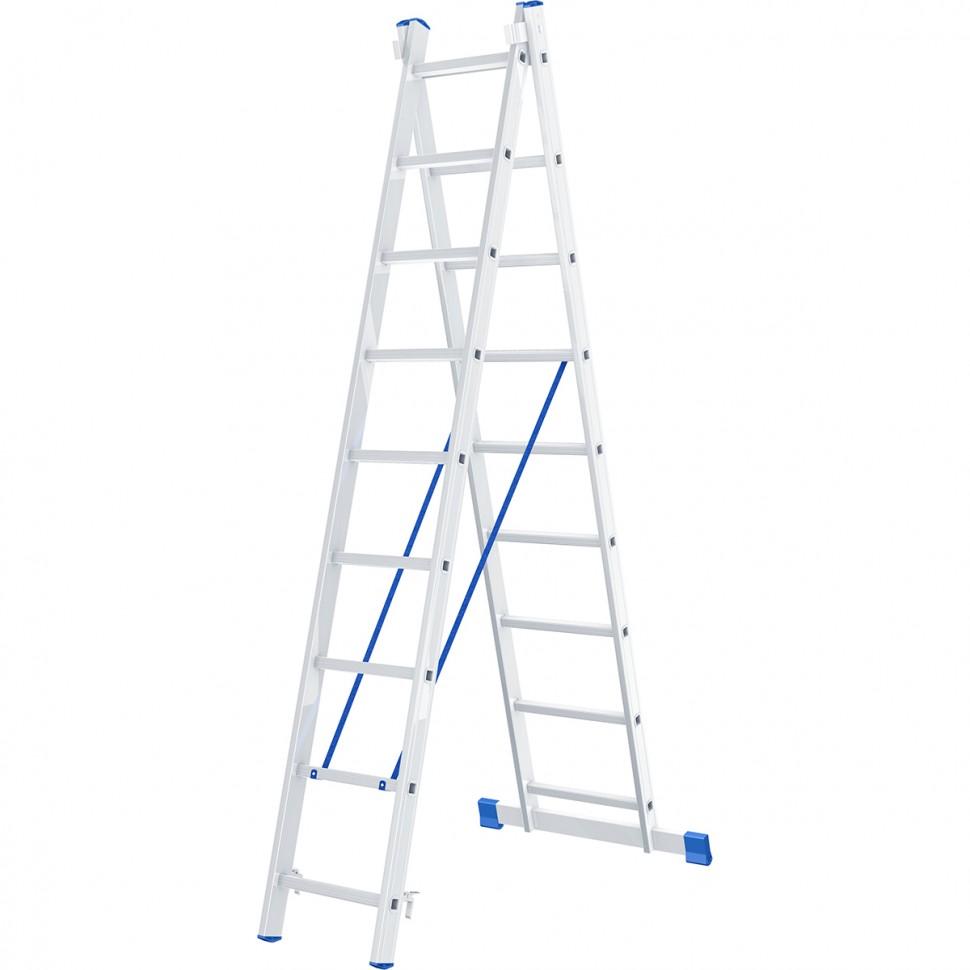 Фото - Лестница Сибртех 2 х 9 ступеней, алюминиевая, двухсекционная лестница сибртех 3 х 7 ступеней алюминиевая трехсекционная