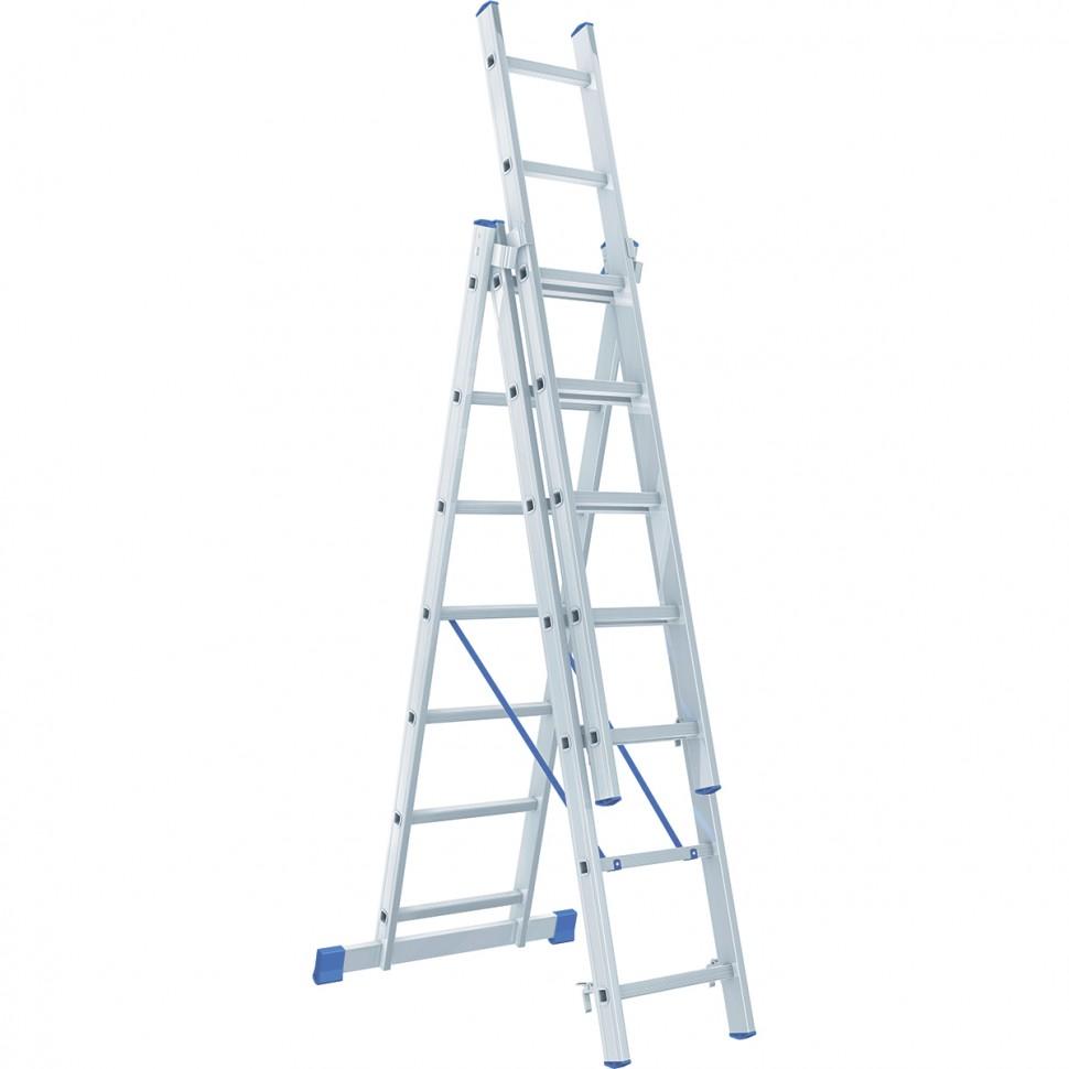 Фото - Лестница Сибртех 3 х 7 ступеней, алюминиевая, трехсекционная стремянка алюминиевая 7 ступеней zalger 111 7