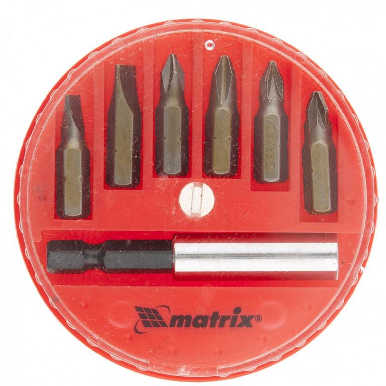 Набор бит Matrix- магнитный адаптер для бит, сталь 45Х, 7 предм., в пласт. закрытом боксе
