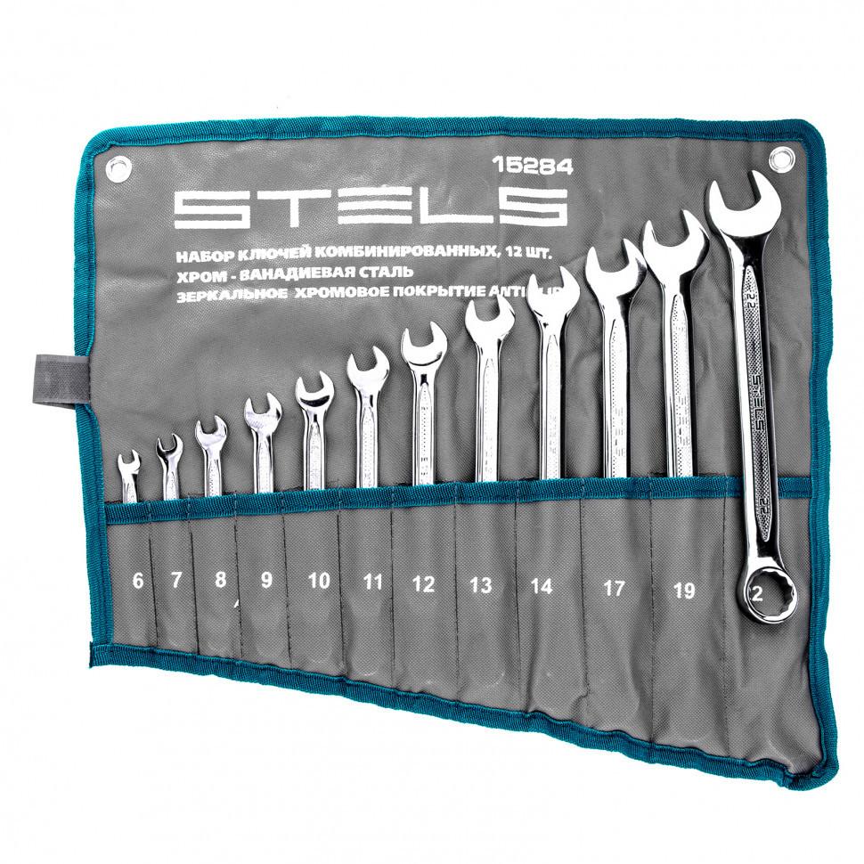Набор ключей комбинированных Stels 12 шт. 6-22 мм антислип ключ комбинированный stels 15251 антислип 14 мм