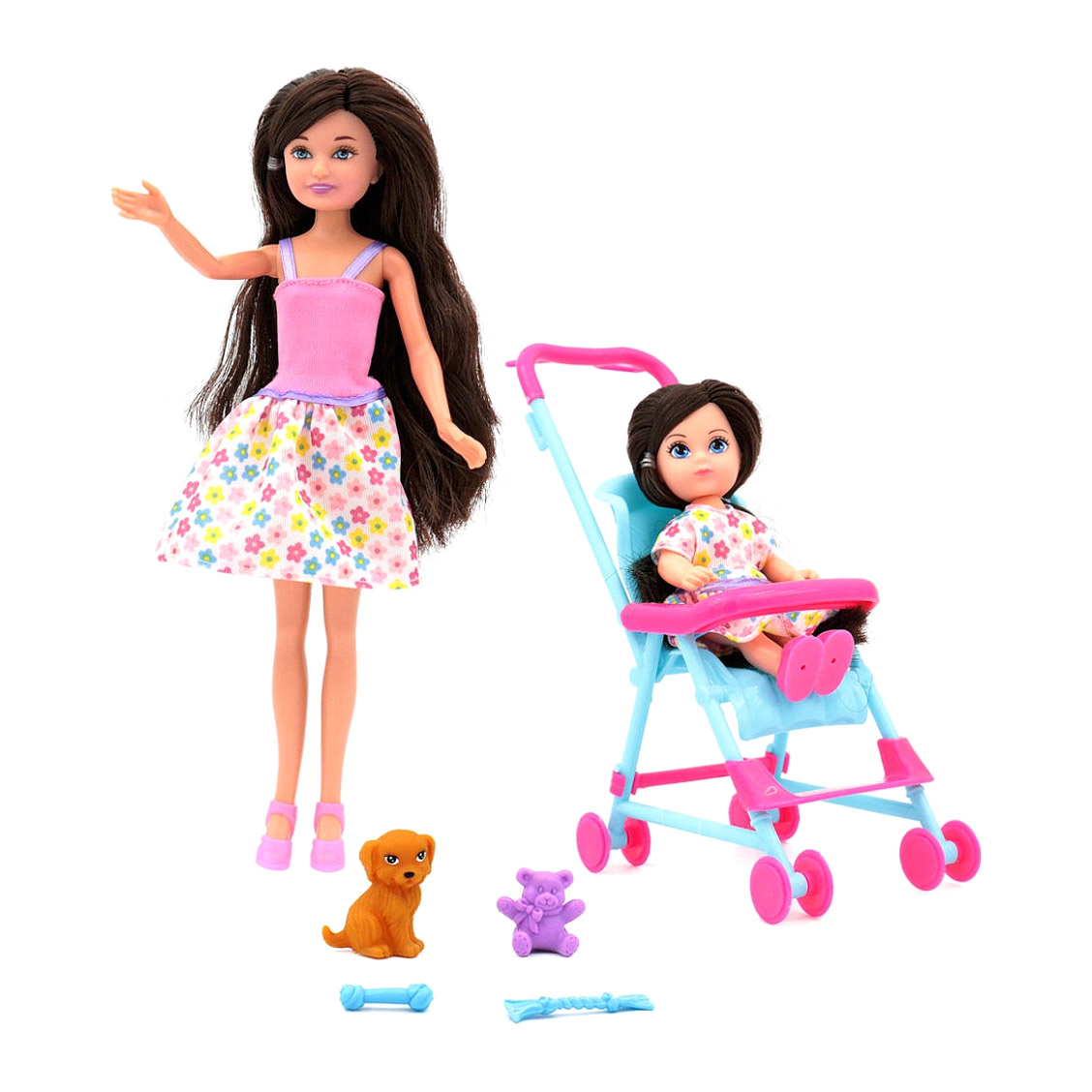 Кукла Funky Toys Мила с куклой Вики в коляске и собачкой 23 см, 12 см funky toys кукла funky toys мила 23 см с куклой вики 12 см на самокате и с собачкой