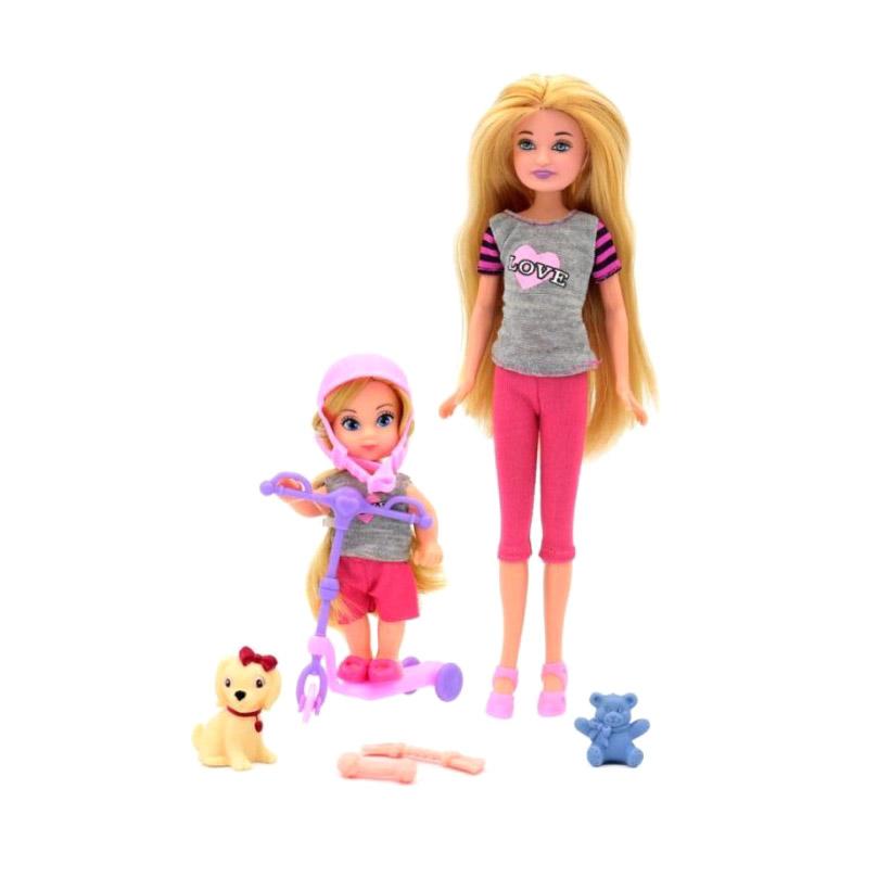 Кукла Funky Toys Мила с куклой Вики на самокате и собачкой 23 см, 12 см funky toys кукла funky toys мила 23 см с куклой вики 12 см на самокате и с собачкой