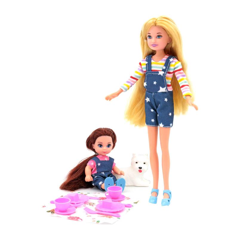 Кукла Funky Toys Мила с куклой Вики с собачкой + набор для пикника 23см,12см funky toys кукла funky toys мила 23 см с куклой вики 12 см на самокате и с собачкой