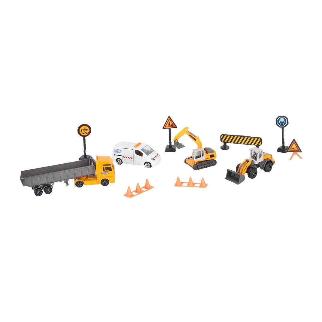Фото - Игровой набор Majorette Строительная техника с дорожными знаками 7,5 см и 13 см бульдозер технопарк с дорожными знаками u1408a 4 12 5 см оранжевый