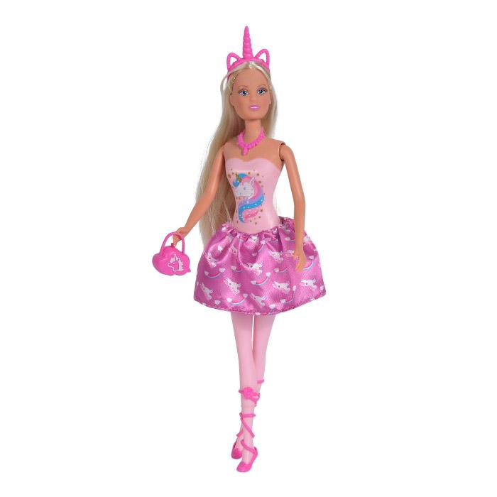 Кукла Штеффи в розовом платье с принтом единорог 29 см