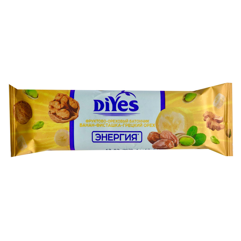 Фото - Батончик ДиYes Банан-фисташки-грецкий орех 40 г батончик диyes банан фисташки грецкий орех 40 г