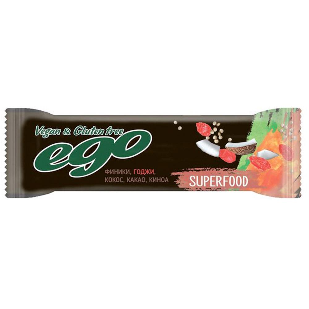 Батончик Ego Superfood фруктово-ореховый Годжи 45 г батончик take a bite фруктово ореховый мята 45 г
