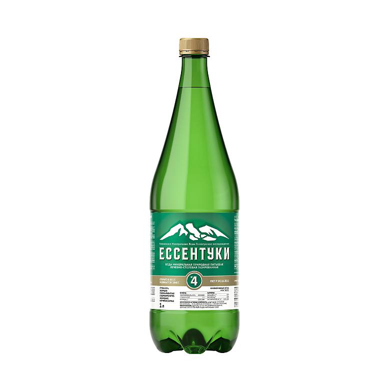 Вода минеральная Ессентуки №4 лечебно-столовая газированная 1 л недорого