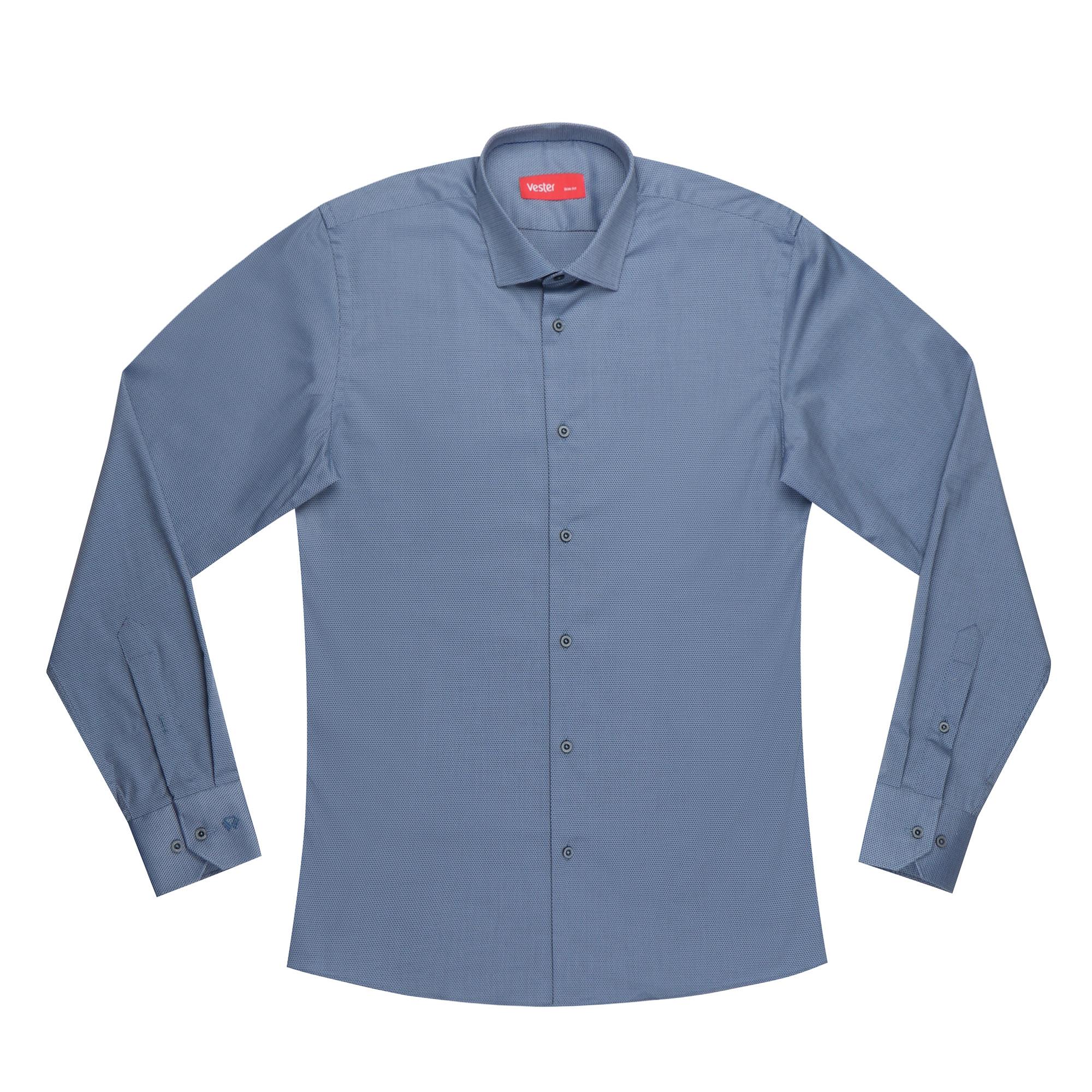 Сорочка приталенная Vester 12918 39S 182-188 синяя фото