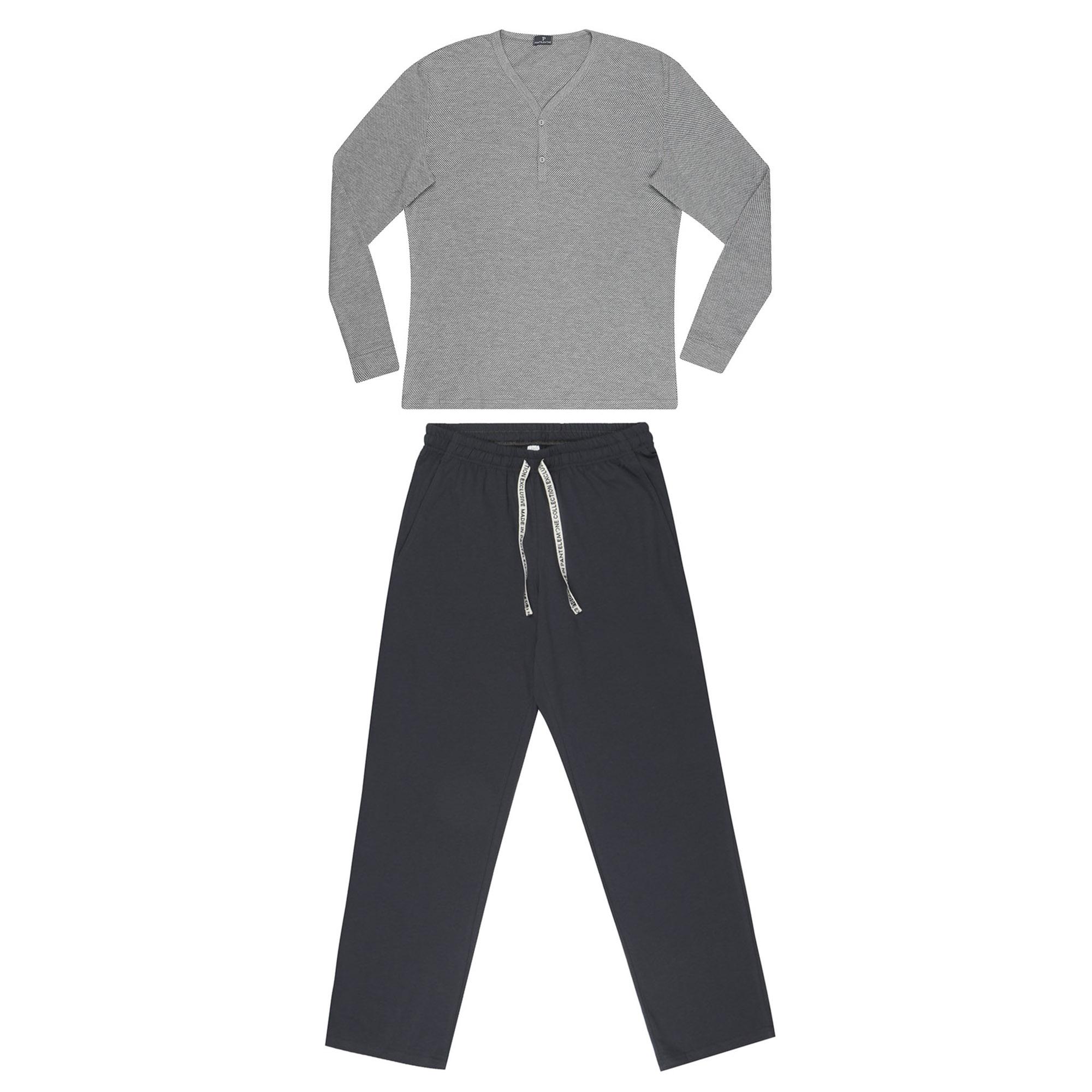 комплект домашний мужской vienetta s secret league капри футболка цвет сапфировый 711124 3286 размер 50 xl Домашний мужской комплект Pantelemone со штанами 50 серый