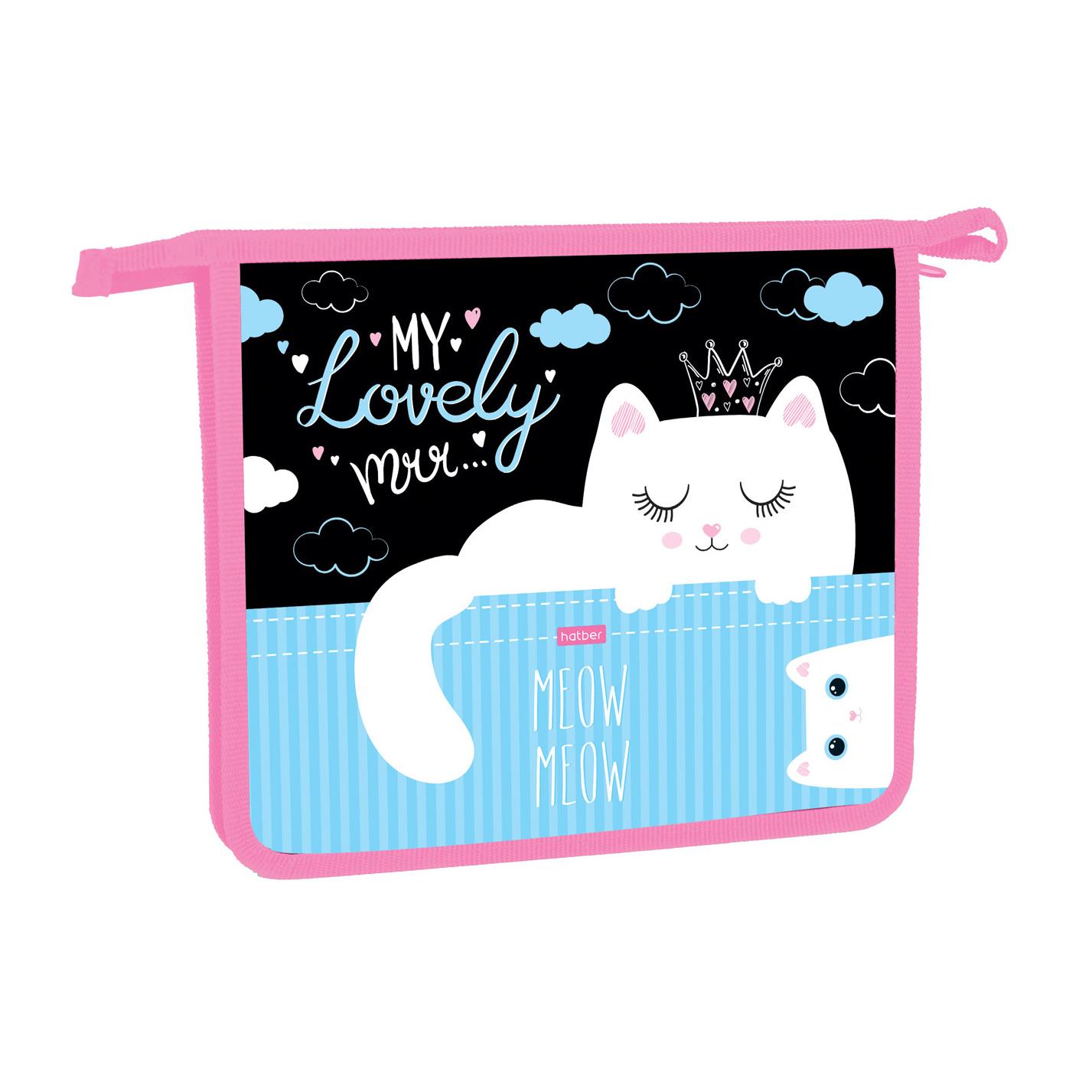 Папка для тетрадей А5 Hatber Lovely cat 1 отделение на молнии