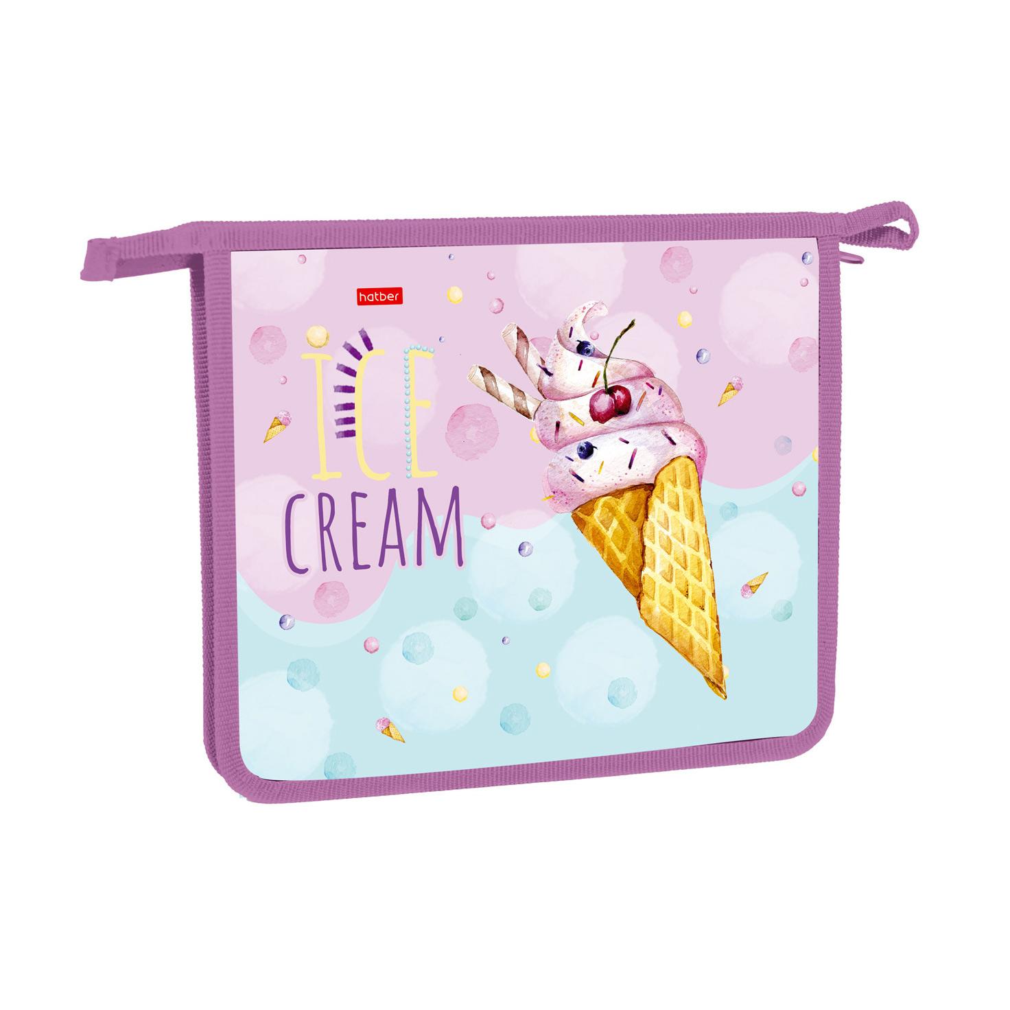 Папка для тетрадей А5 Hatber Ice cream 1 отделение на молнии фото