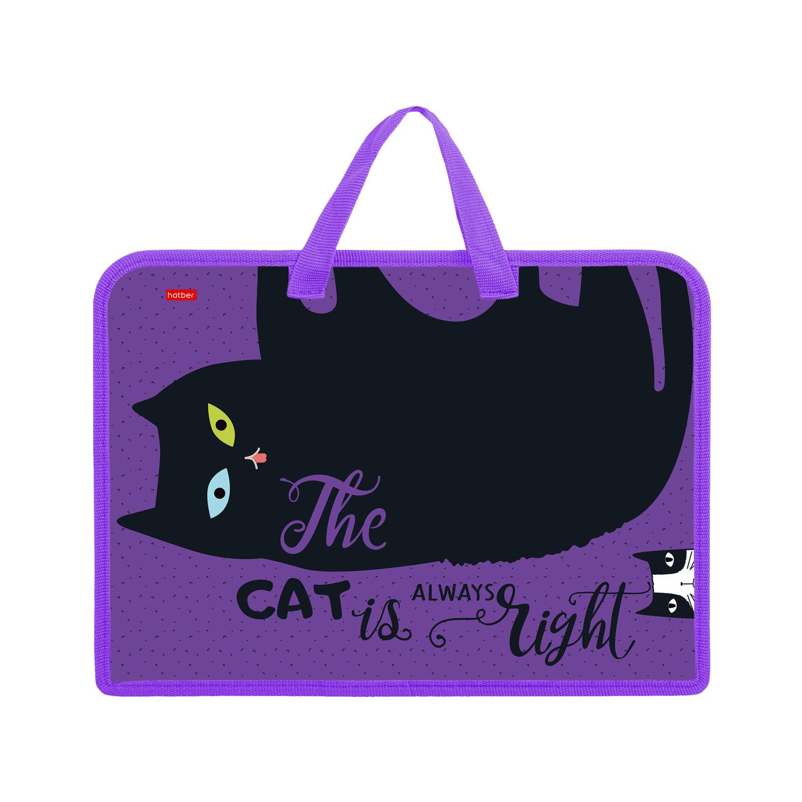 Папка для тетрадей на молнии А4 Hatber Все любят котиков 1 отделение с ручками недорого