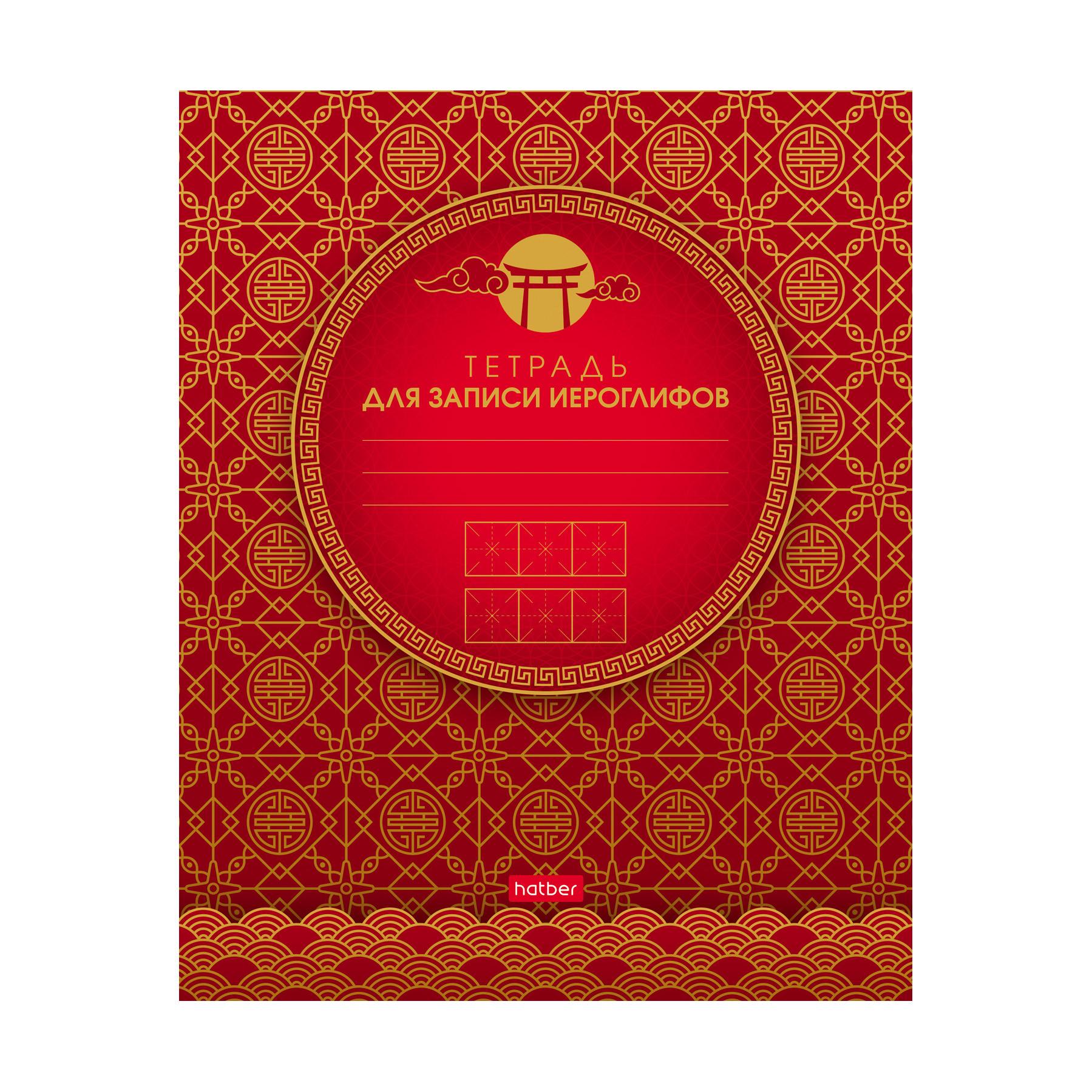 Тетрадь для записи иероглифов Hatber Золотые узоры 48 л А5