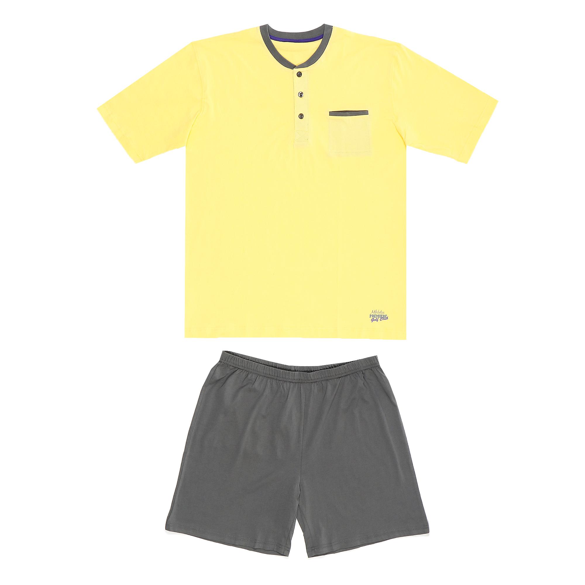 комплект домашний мужской vienetta s secret league капри футболка цвет сапфировый 711124 3286 размер 50 xl Домашний мужской костюм Xiamen Honesty MP-104 серый/желтый XL