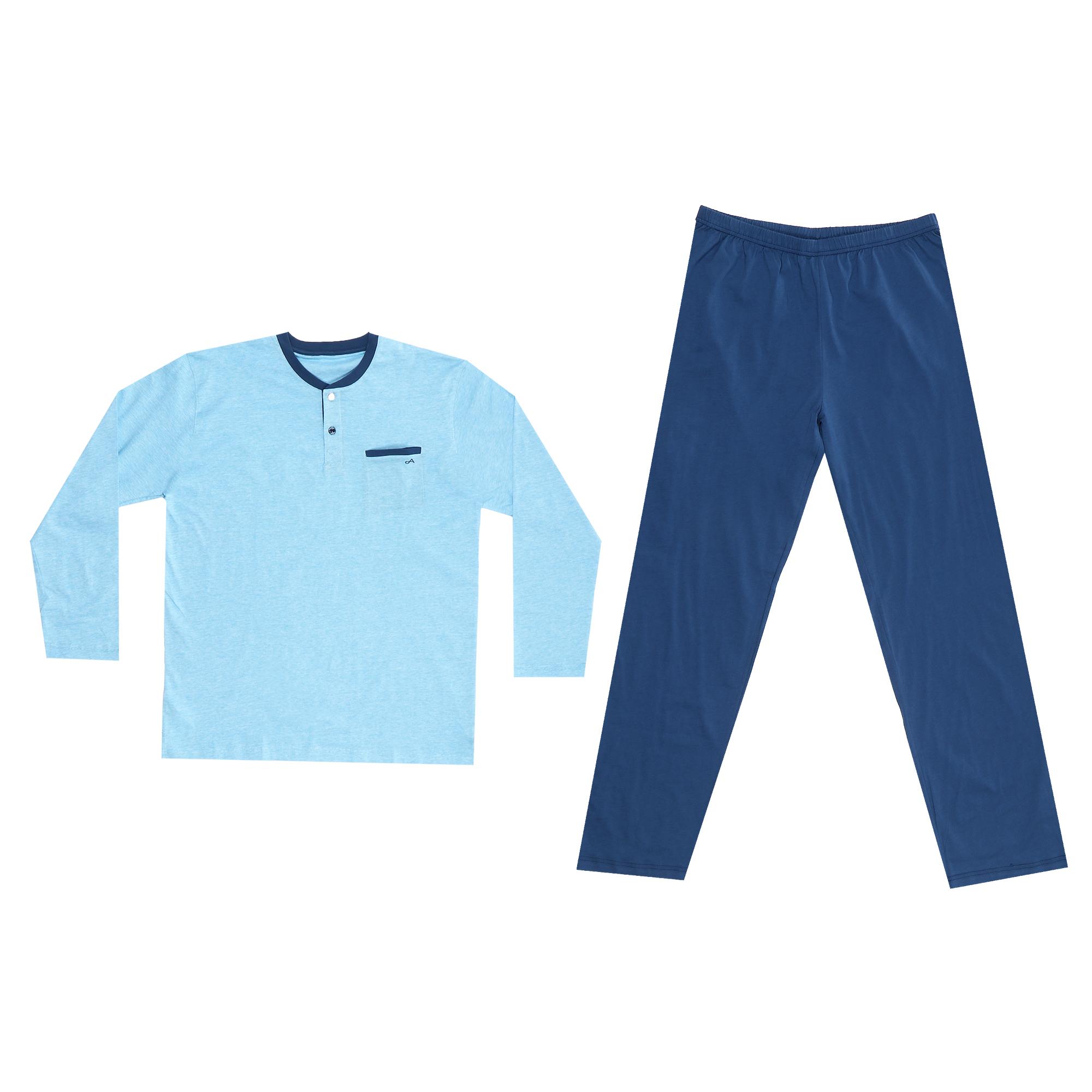 комплект домашний мужской vienetta s secret league капри футболка цвет сапфировый 711124 3286 размер 50 xl Домашний мужской костюм Xiamen Honesty MP-120 голубой/синий XL
